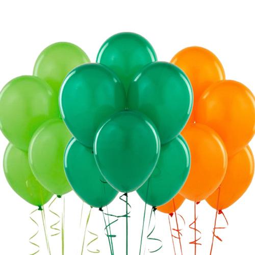 Koyu yeşil açık yeşil turuncu balon 15 adet