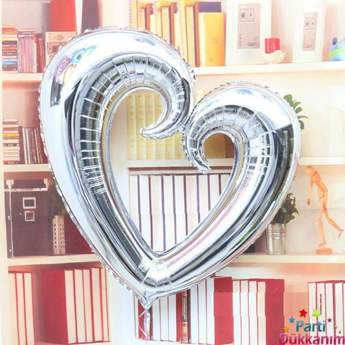 Gümüş kalp folyo balon büyük