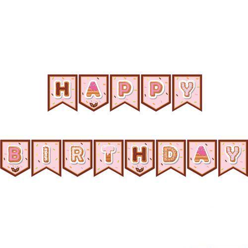 donut temali happy birthday yazısı