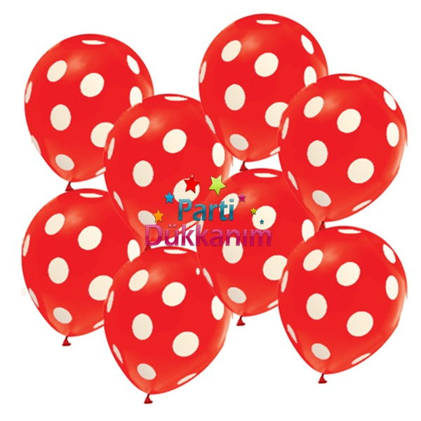 kırmızı üzeri beyaz puanlı balon