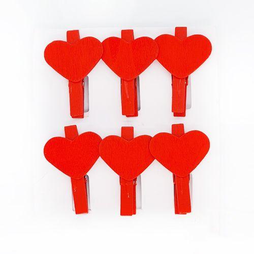 Kırmızı Kalpli Ahşap Mandal 6 Adet, fiyatı