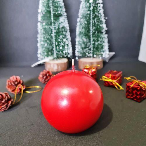 Kırmızı Metalik Top Mum 7 cm, fiyatı