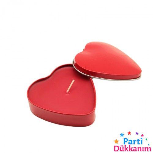 Kırmızı Kokulu Kalp Mum Metal Kutulu (7x8 cm), fiyatı