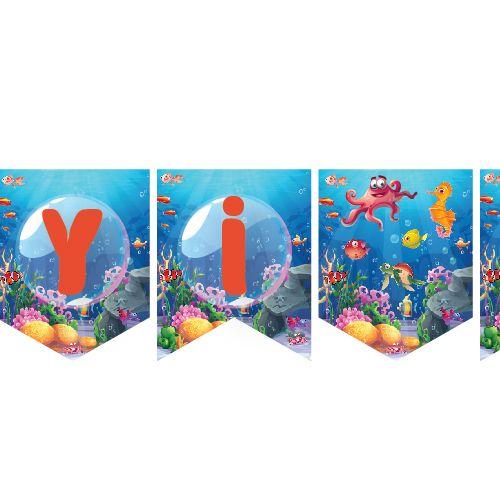 Deniz Canlıları İyi ki Doğdun Yazısı 190 cm, fiyatı