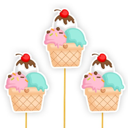 Dondurma Temalı Çubuklu Parti Aksesuarı 6 Adet, fiyatı