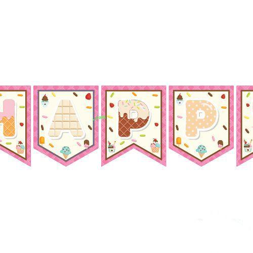 Dondurma Temalı Happy Birthday Yazısı 190 cm, fiyatı