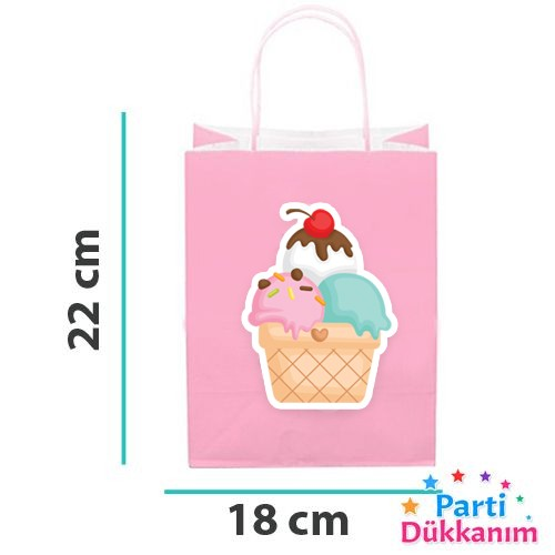 Dondurma Temalı Kağıt Hediye Çantası 6 adet 18x22, fiyatı