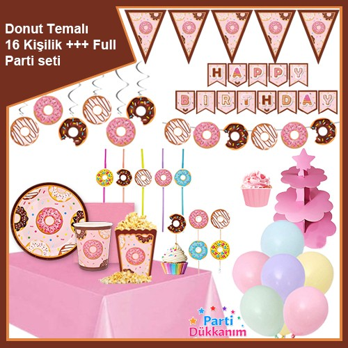 Donut Temalı 16 Kişilik +++ Full Parti Seti, fiyatı
