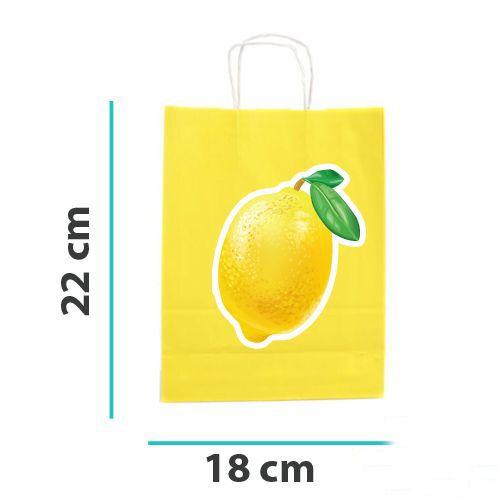 Limon Temalı Kağıt Hediye Çantası 6 adet 18x22, fiyatı