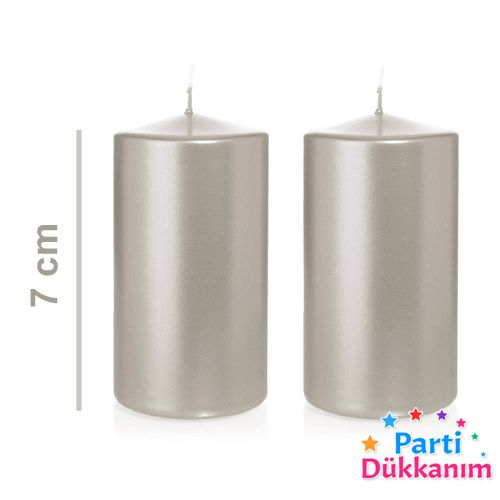 Gümüş Sütun Mum 2 Adet 7 cm, fiyatı