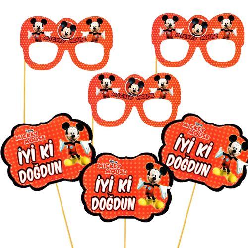 Mickey Mouse Çubuklu Parti Aksesuarları Seti 6 Parça, fiyatı