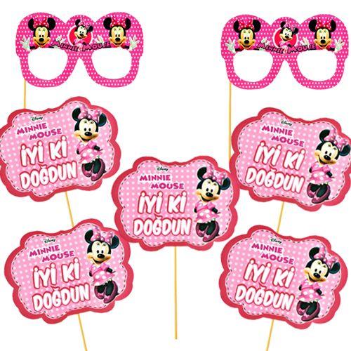 Minnie Mouse Çubuklu Parti Aksesuarları Seti 6 Parça, fiyatı