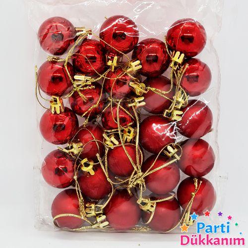 Kırmızı Yılbaşı Top Süs Mat- Parlak 24 Adet 3 cm, fiyatı