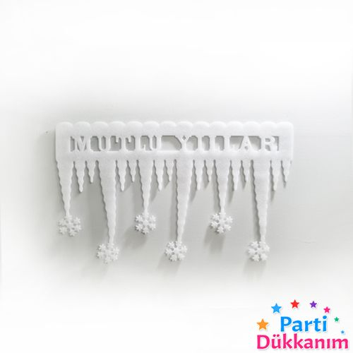 Mutlu Yıllar Kar Taneli Dekor Buzul Süs 2 Adet 60x35 cm, fiyatı