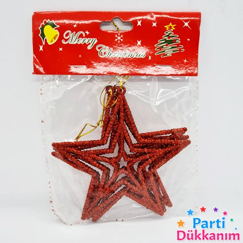 Yılbaşı Simli Yıldız Süs 3 Adet 10 cm, fiyatı