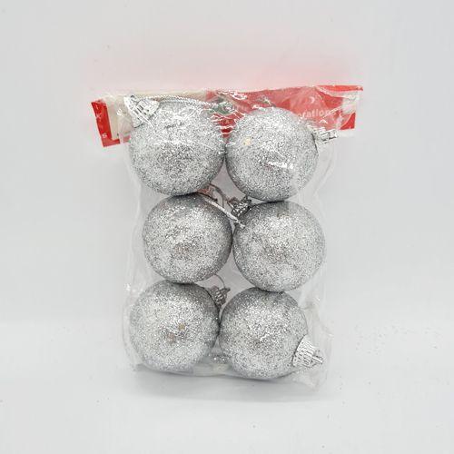 Çam Ağacı Süsleme Simli Top Gümüş 6 Adet 4 cm, fiyatı
