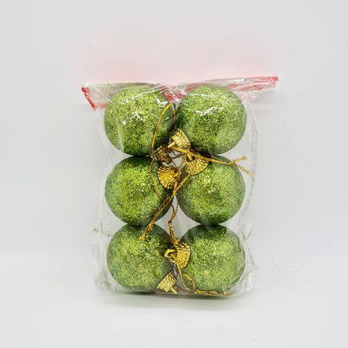 Çam Ağacı Süsleri Simli Top Yeşil 6 Adet 4 cm, fiyatı
