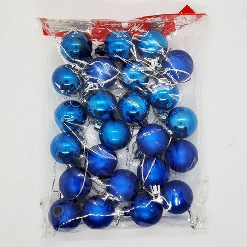 Mavi Yılbaşı Top Süs Mat- Parlak 24 Adet 3 cm, fiyatı