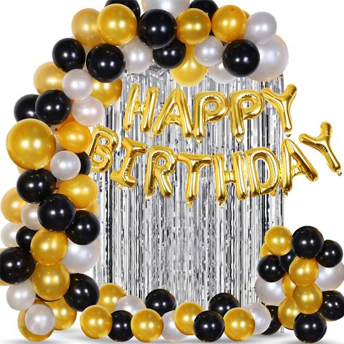 Yetişkin Doğum Günü Süsleri Seti Gold-Gümüş-Siyah Kombini, fiyatı