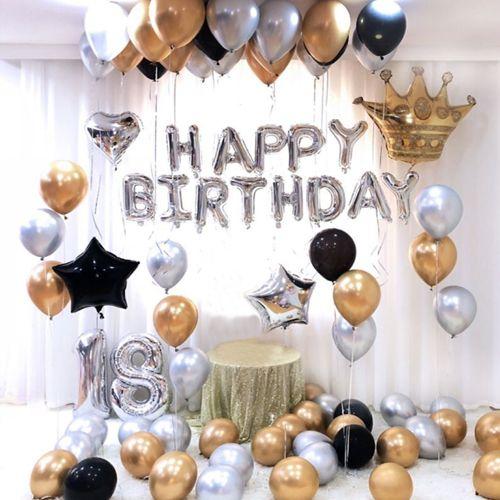 Gold Gümüş Siyah 18 Yaş Doğum Günü Süsleri Kombini Seti, fiyatı