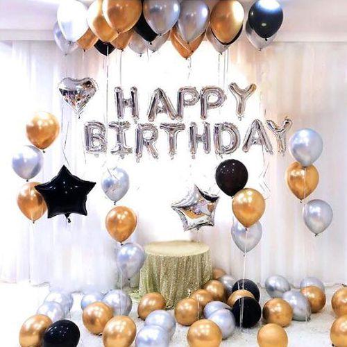 Gold Gümüş Siyah Doğum Günü Süsleri Kombini Seti, fiyatı