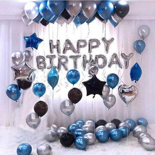 Mavi Gümüş Siyah Doğum Günü Süsleri Kombini Seti, fiyatı