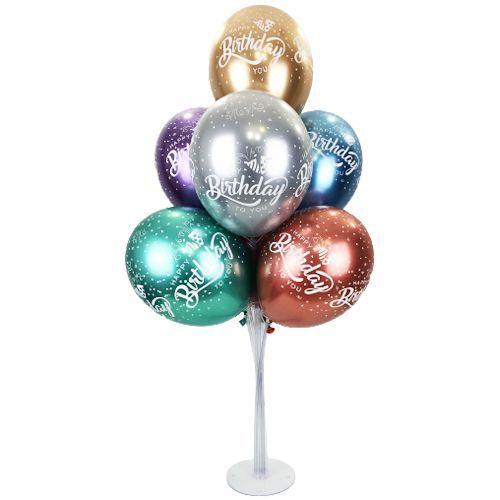 Happy Birthday Baskılı Krom Balon Standı, fiyatı