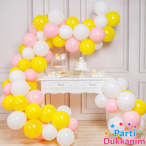 Balon Zinciri - Sarı Beyaz Pembe 100 adet, fiyatı