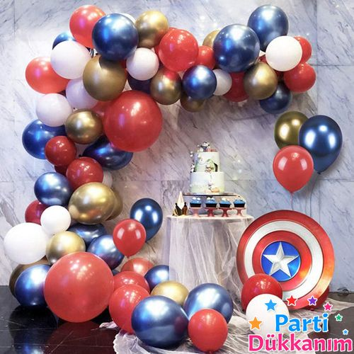 Balon Zinciri - Gold Mavi Kırmızı Beyaz 100 adet, fiyatı