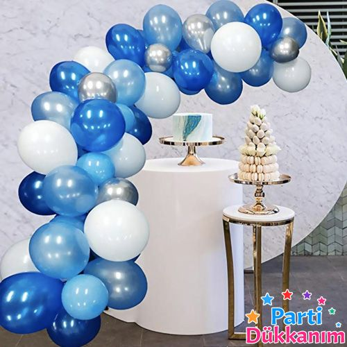 Balon Zinciri - Mavi Beyaz Gümüş 95 Adet, fiyatı
