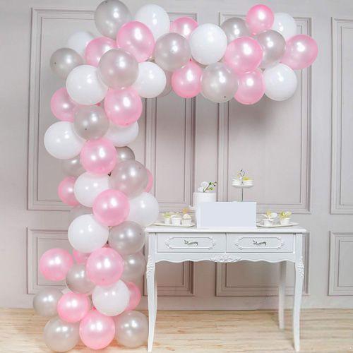 Balon Zinciri - Gümüş Beyaz Pembe 100 adet, fiyatı