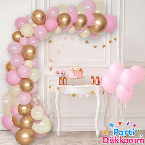 Balon Zinciri - Gold Beyaz Pembe 95 adet, fiyatı