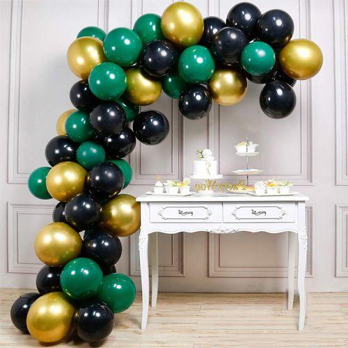 Balon Zinciri - Gold Siyah Yeşil 90 adet, fiyatı