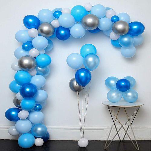 Balon Zinciri - Mavi Beyaz Gümüş Krom Balon, fiyatı