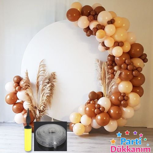 Çikolata/Karamel Kahve - Ten Rengi Balon Zinciri