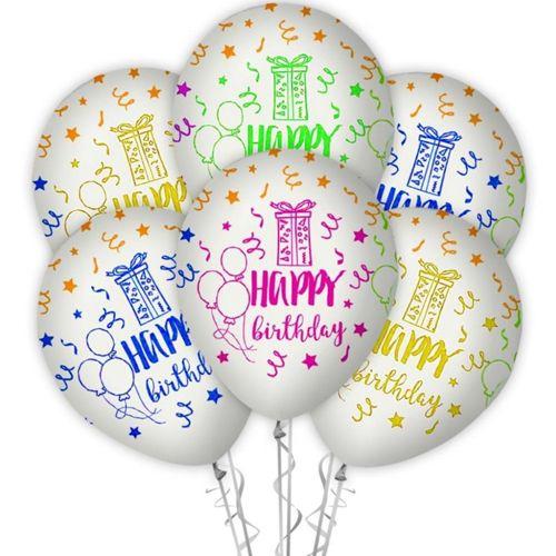 Happy Birthday Floresan Baskılı Balon Beyaz (15 Adet), fiyatı