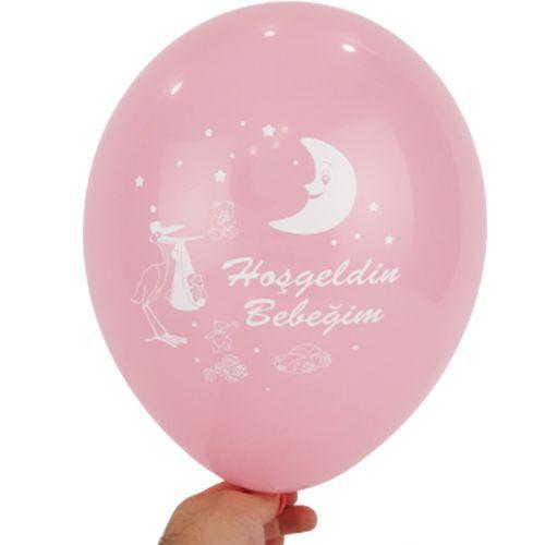Hoşgeldin Bebeğim Baskılı Balon Pembe 15 adet, fiyatı