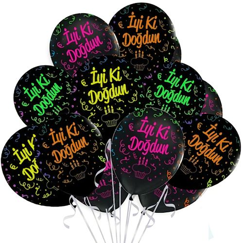 İyi Ki Doğdun Çepeçevre Floresan Baskılı Balon 15 Adet, fiyatı