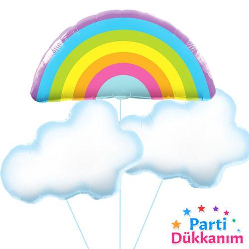 Gökkuşağı - Bulut Folyo Balon Set (3 adet), fiyatı