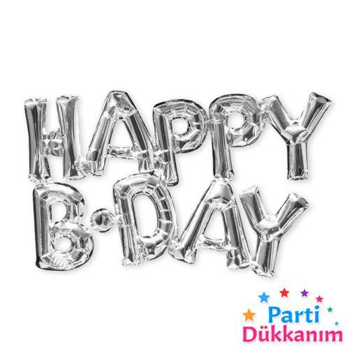 Happy Birthday Folyo Balon Gümüş (35 cm), fiyatı