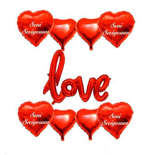Love Seni Seviyorum Folyo Balon Set Kırmızı (9 Adet), fiyatı