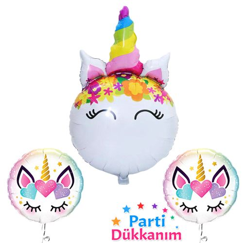 Unicorn Folyo Balon Seti (3 adet), fiyatı