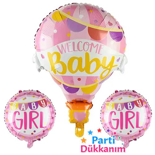 Welcome Baby Folyo Balon Set Pembe 3 Adet, fiyatı