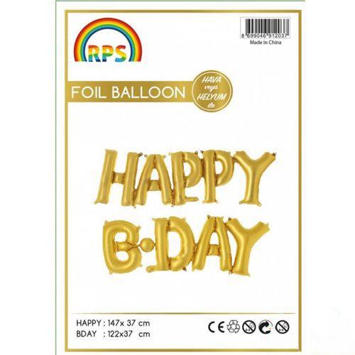Happy Birthday Folyo Balon Gold (37 cm), fiyatı