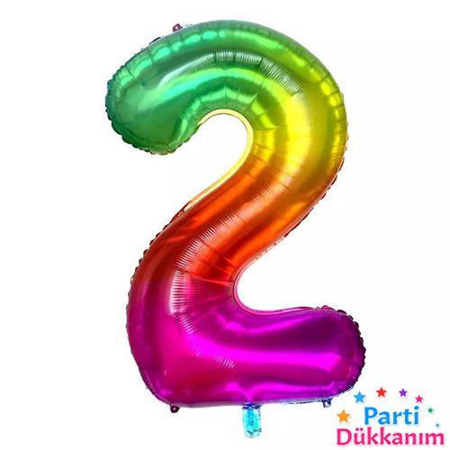 2 Rakam Folyo Balon Rainbow 100x60 cm, fiyatı
