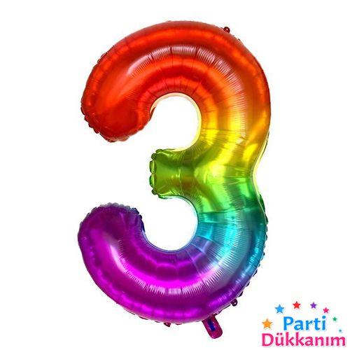 3 Rakam Folyo Balon Rainbow 100x60 cm, fiyatı