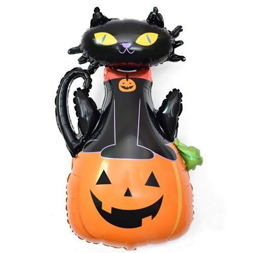 Balkabaklı Siyah Kedi Folyo Balon 90*60 cm, fiyatı