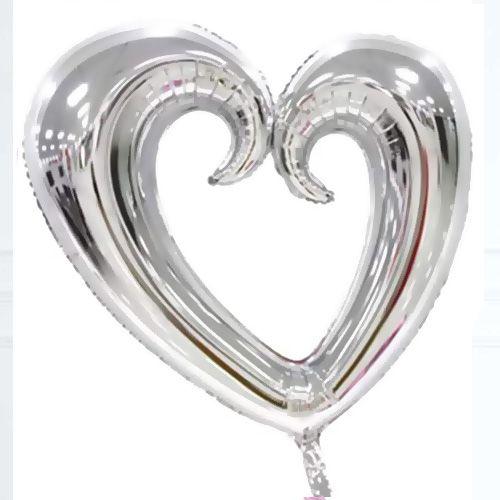 Kalp Folyo Balon Gümüş (80x75 cm), fiyatı