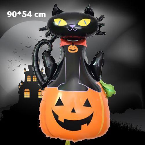 Balkabaklı Siyah Kedi Folyo Balon 90*60 cm