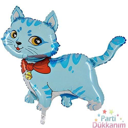 Kedi Folyo Balon Mavi 100x55 cm Büyük boy